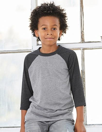 Youth 3-4 Sleeve Baseball Tee - Kinderbekleidung - Kinder T-Shirts Langarm - Canvas Black - White