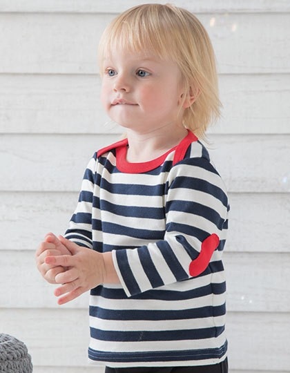 Baby Stripy Long Sleeve T - Kinderbekleidung - Baby Shirts & Hosen - Babybugz Navy - Washed White - Red