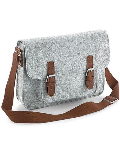 Premium Felt Satchel - BagBase Charcoal Melange - Black
