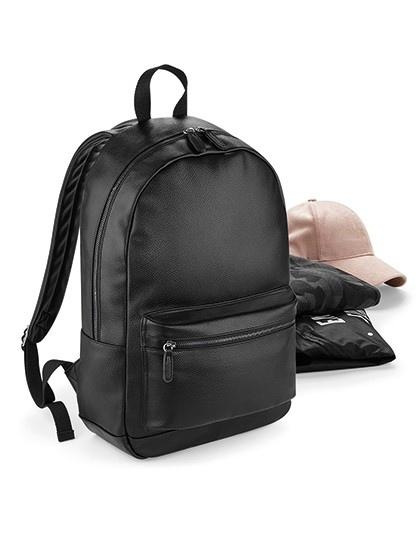 Faux Leather Fashion Backpack - Rucksäcke - Freizeit-Rucksäcke - BagBase Black