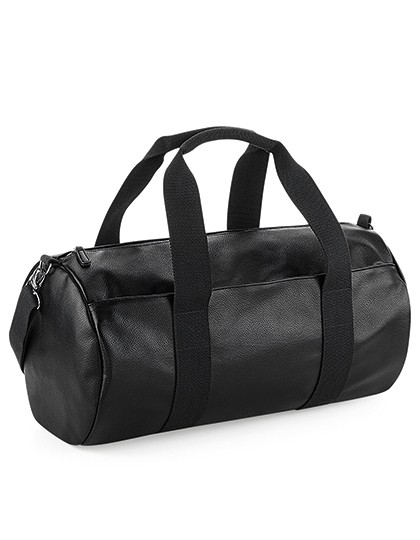 Faux Leather Barrel Bag - BagBase Black