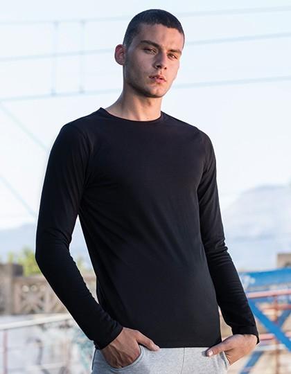 Men`s Feel Good Long Sleeved Stretch T - Fashion T-Shirts - Langarm - SF Men Black