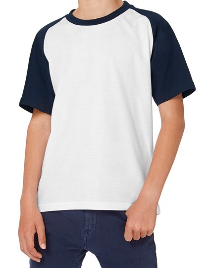 T-Shirt Base-Ball - Kids - Kinderbekleidung - Kinder T-Shirts - B&C White - Navy