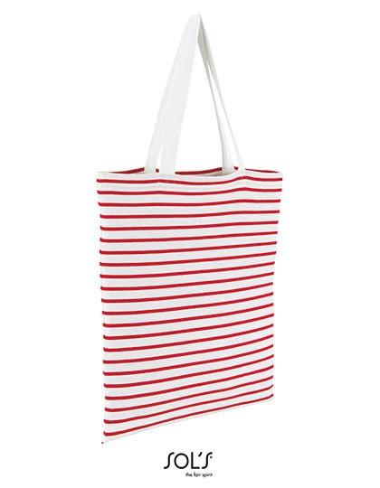 Striped Jersey Shopping Bag Luna - Freizeittaschen - Einkaufstaschen - SOL´S Bags White - Navy
