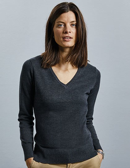 Ladies` V-Neck Knitted Pullover - Pullover & Strickwaren - Pullover - Russell Collection Black