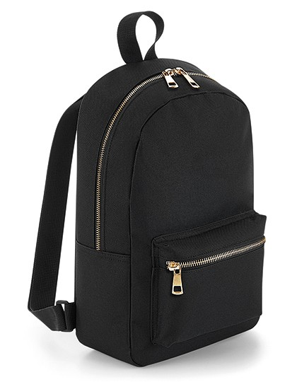 Metallic Zip Mini Backpack - BagBase Black - Gold