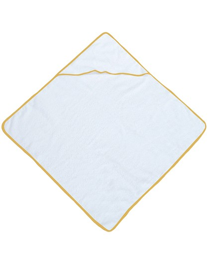 Piped Border Baby Towel With Hood Terry - Bear Dream White