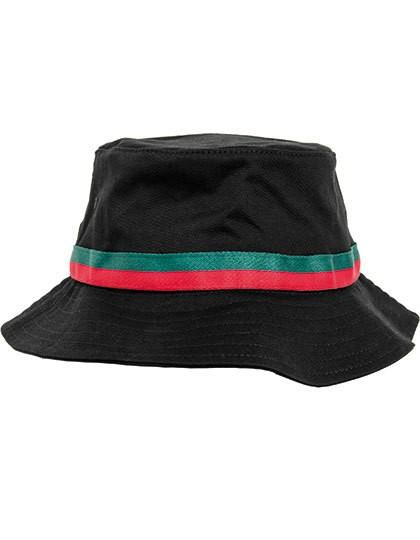 Stripe Bucket Hat - FLEXFIT Black - Fire Red - Green