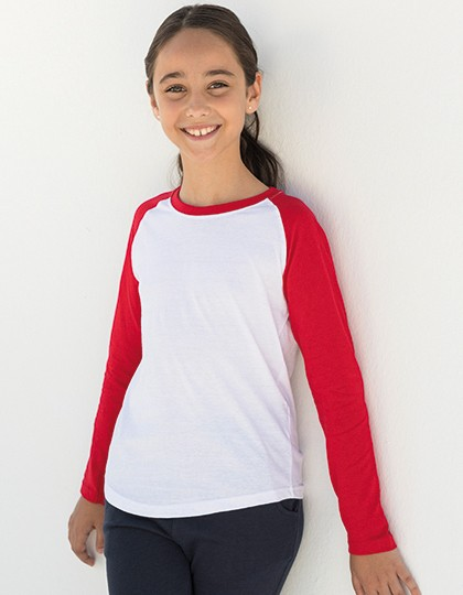 Kids` Long Sleeved Baseball T - Kinderbekleidung - Kinder T-Shirts Langarm - SF Minni White - Heather Grey