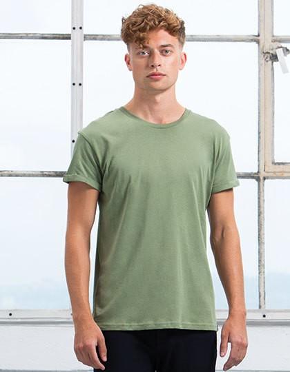 Men`s Roll Sleeve T - Fashion T-Shirts - Rundhals - Mantis Black