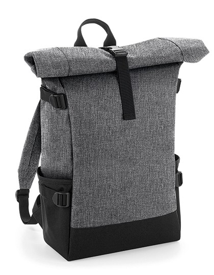 Block Roll-Top Backpack - BagBase Black - Black