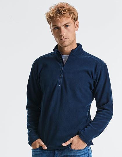 Men`s Quarter Zip Microfleece - Fleece - Half Zip Fleece - Russell Black