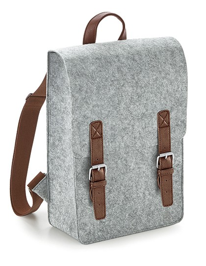 Premium Felt Backpack - BagBase Charcoal Melange - Black