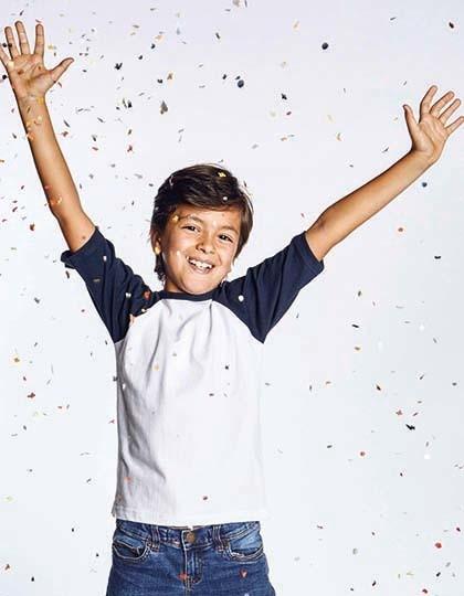 Kids` Raglan-T - Kinderbekleidung - Kinder T-Shirts - Promodoro Black - Fire Red