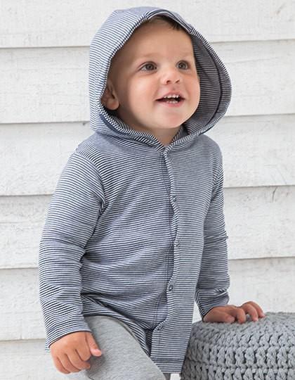 Baby Striped Hooded T - Kinderbekleidung - Baby Shirts & Hosen - Babybugz White - Heather Grey Melange