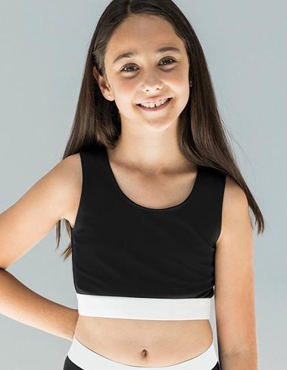 Kids` Fashion Crop Top - Sublimationstextilien - Sublimations Kinderartikel - SF Minni Black - White