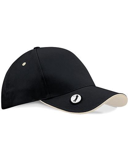 Pro-Style Ball Mark Golf Cap - Caps - Netz- & Sport-Caps - Beechfield Black - Putty