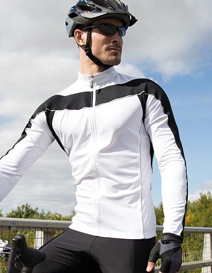 Men`s Bikewear Long Sleeve Performance Top - Activity Concepts - Spiro Breathe to Perform - SPIRO Aqua - Black