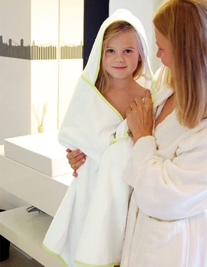 Piped Border Baby Towel With Hood Velour - Bear Dream White