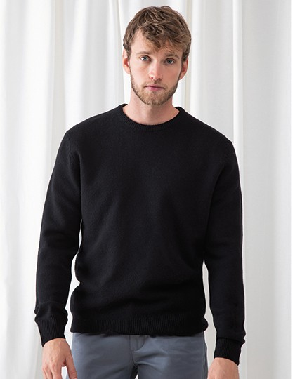 Crew Neck Lambswool Jumper - Pullover & Strickwaren - Pullover - Henbury Black
