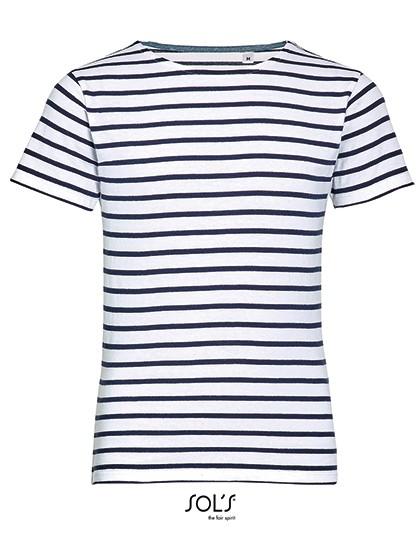 Kids` Round Neck Striped T-Shirt Miles - Kinderbekleidung - Kinder T-Shirts - SOL´S Ash (Heather) - Lemon