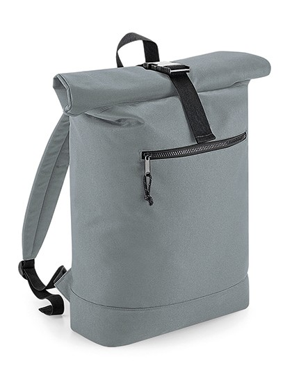 Recycled Roll-Top Backpack - BagBase Black