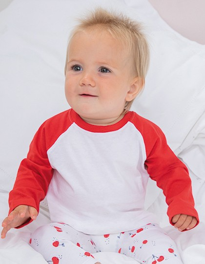 Long Sleeved Baseball T Shirt - Kinderbekleidung - Baby Shirts & Hosen - Larkwood White - Pale Blue